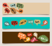 Valentine speech bubble banner set Stock Photo