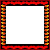 Valentine square frame. Empty drawn frame decorated red hearts. Computer picture Royalty Free Stock Photos