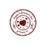 Valentine stamp with heart Stock Photos