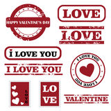 Valentine stamps. Set of nine grunge stamps for Valentine's day isolated on white background. EPS file available