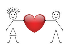 Valentine stick boy and girl Royalty Free Stock Images