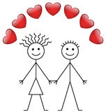 Valentine stick boy and girl Royalty Free Stock Image