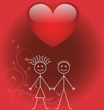 Valentine stick boy and girl Stock Photo
