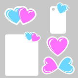 Valentine stickers with blue and pink heart Royalty Free Stock Photography