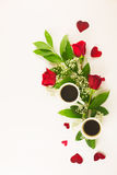 Valentine still life with pearl ring in man hand, red roses and woman hand with coffee. Marriage proposal with pearl ring in man hand, red roses and woman hand Royalty Free Stock Photography