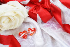 Valentine Still Life Red Hearts over Silk Royalty Free Stock Image