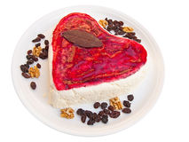 A valentine strawberry and cream cake. Witj some dried fruits Royalty Free Stock Photos