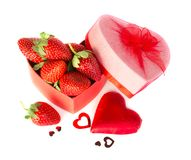 Valentine strawberry and heart Royalty Free Stock Photo