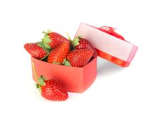 Valentine strawberry and heart Stock Image