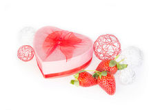 Valentine strawberry and heart gift box Stock Images