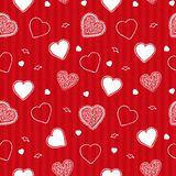Valentine stripes pattern. Valentine pattern with red stripes and white hearts Royalty Free Stock Image
