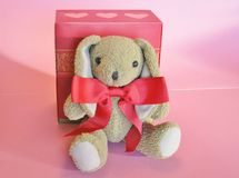 Cuddly brown Valentine bunny in big red bow  Stock Image