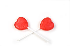 Valentine suckers. On white background Royalty Free Stock Images