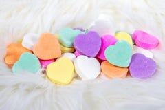Valentine-suikergoedharten en bont Stock Afbeelding