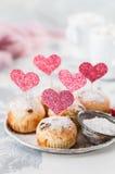 Valentine Sultana Cupcakes Royalty Free Stock Photos
