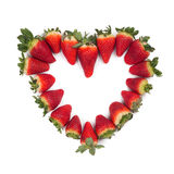 Valentine sweetheart strawberries isolated Royalty Free Stock Images
