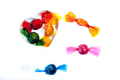 Valentine sweets. Colorful sweets with a heart on a white background stock images