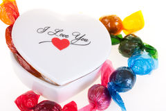 Valentine sweets. Colorful sweets with a heart on a white background royalty free stock photos