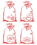 Valentine symbol on bag, set Stock Photos