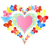 Valentine symbolic hearts. With flowers and butterflies stock illustration
