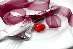 Valentine table setting Royalty Free Stock Photo