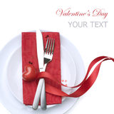Valentine Table Setting Stock Photo