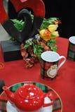Valentine table setting. Decor of romantic valentine table arrangements Stock Image