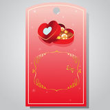 Valentine tag chocolate box. Tag or ticket for valentine sale Royalty Free Stock Photography