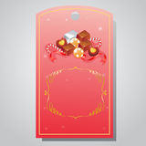 Valentine tag chocolate. Tag or ticket for valentine sale Royalty Free Stock Photos