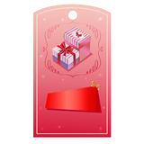 Valentine tag giftbox. Banner valentine with red heart shape Royalty Free Stock Images