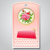 Valentine tag rose. Tag or ticket for valentine sale Stock Image