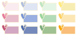 Valentine Tags. A set of twelve Valentine tags showing a heart in various colors Stock Photo