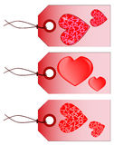 Valentine Tags. A collection of three St. Valentine tags isolated on white Royalty Free Stock Images