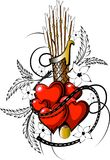 Valentine tattoo with arrow 1. Valentine tattoo with arrow in vectorial format with flower decoration Stock Photos