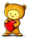Valentine teddy bear. Lovely teddy bear holding a big heart Stock Photography