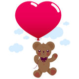 Valentine teddy bear with balloon Stock Photography