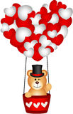 Valentine teddy bear in a heart hot air balloon Stock Image