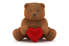 Valentine teddy bear holding a heart isolated. On white royalty free stock images