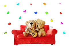 Valentine Teddy Bears Isolated Stock Photo