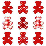 Valentine Teddy Bears. Teddy bears with big hearts in polka dots and gingham in Valentine's Day red and white. EPS8 in groups for easy editing Stock Image