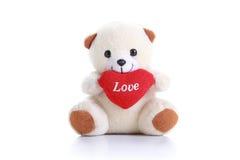 Valentine Teddy bianco Immagini Stock