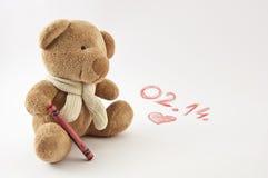 Valentine Teddy björn Arkivbild