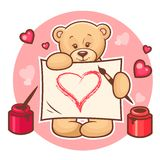 Valentine teddy with sign Royalty Free Stock Photography