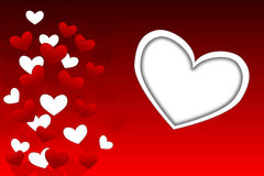 Valentine theme. With many graffic hearts on red background Stock Photo