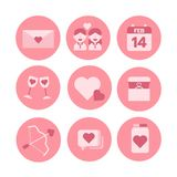 Valentine theme, monochrome icon set. Vector illustrator. Valentine theme, monochrome circle icon set. Vector illustrator, 14 february Royalty Free Stock Images