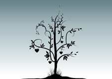 Valentine Tree. A black valentine tree with many heart, vector illustration royalty free illustration