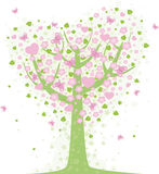 Valentine tree. Vector valentine background with hearts Stock Photography