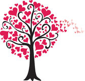 Valentine tree breeze. Red heart leaves blowing int he breeze, red heart tree, breeze, valentine Stock Image