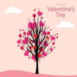 Valentine Tree Card Design vector illustration