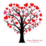 Valentine Tree con el corazón del amor, ejemplo EPS 10. del vector. Imagenes de archivo